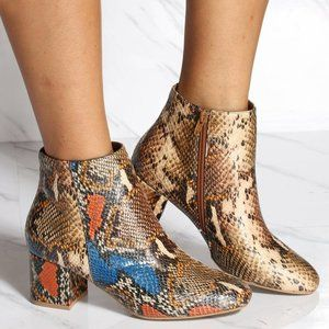 NEW🔥Multi Color Snake Ankle Booties Boot Med Heel